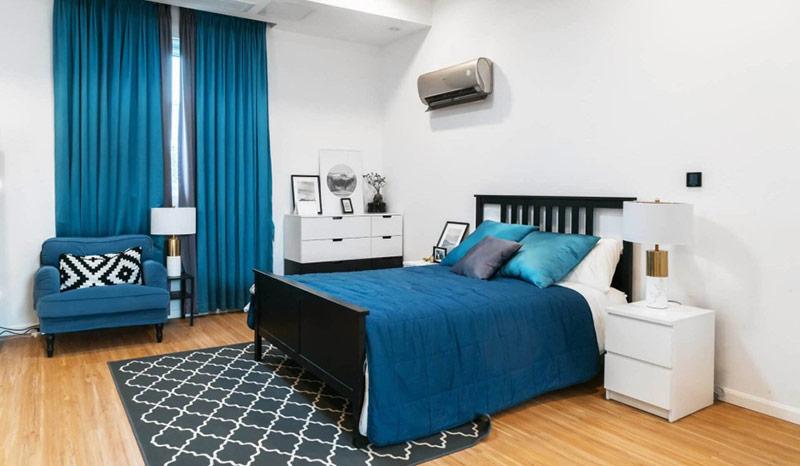 Vị trí tốt nhất để đặt máy lạnh trong phòng ngủ là bên trái hoặc bên phải giường.